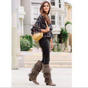 Shoe dazzle Aryn Taupe fringe knee boots